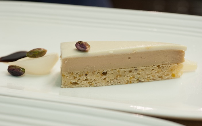 Foie Gras Gâteau with Allium, Pistachios, and Balsamic