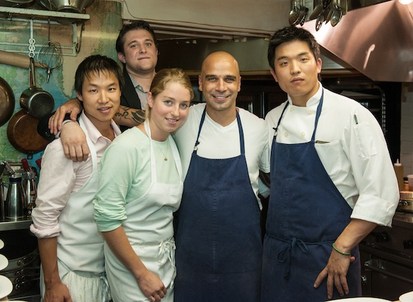 Chef Mourad Lahlou and his team in the Beard House kitchen