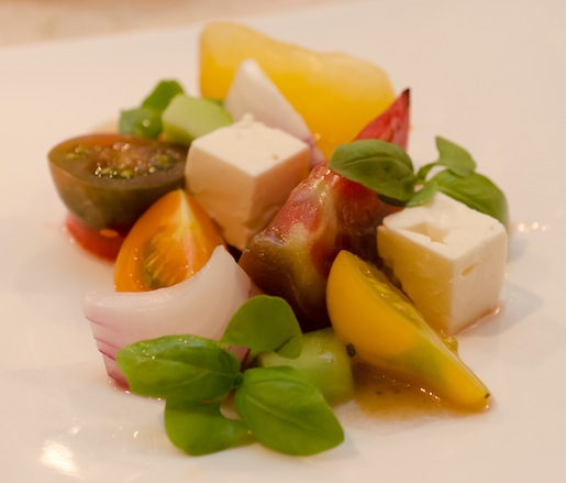 Heirloom Tomatoes, Lemon Cucumbers, Basil Cress, and Feta Cheese with Red Wine Vinaigrette