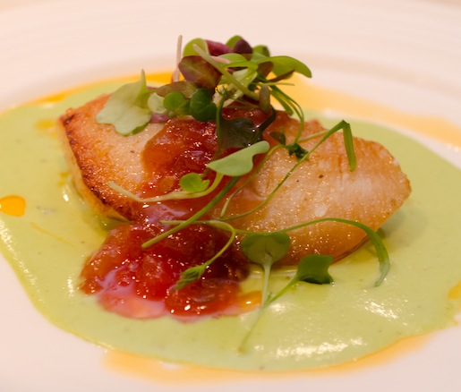 Pan-Seared Halibut Cheeks with Sweet Pea Purée and Tomato Marmalade
