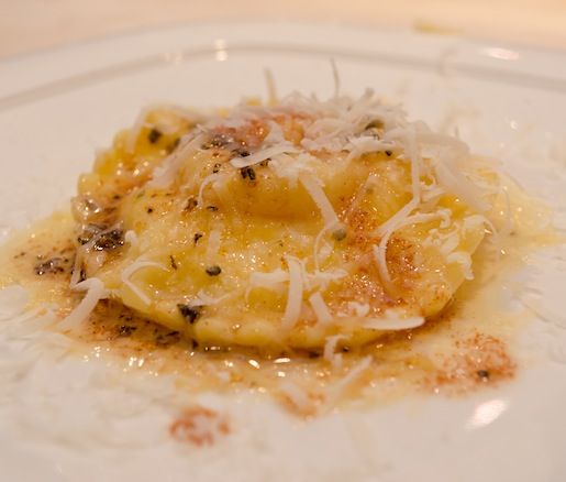 Hen Egg Ravioli with Ricotta Cheese, Parmigiano, and Brown Butter
