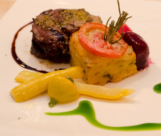 Kentucky Orchard Honey, Espresso, Fennel Pollen, and Balsamic–Rubbed Certified Angus Beef® Spinalis Steak with Celeriac–Yukon Potato Gratin, Roasted Beets, and Baby Squash