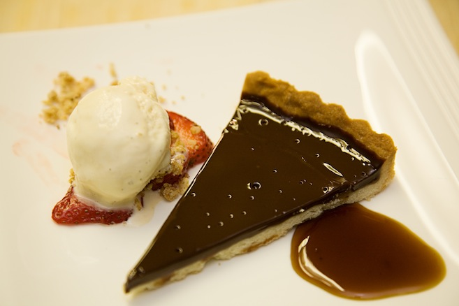 Warm Chocolate–Caramel Tart with Caramel Gelato and Espresso Sauce