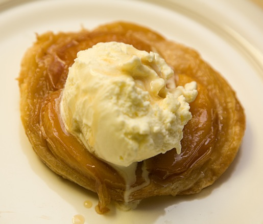 Peach Tarte Tatin with Local Honey and Lavender Ice Cream