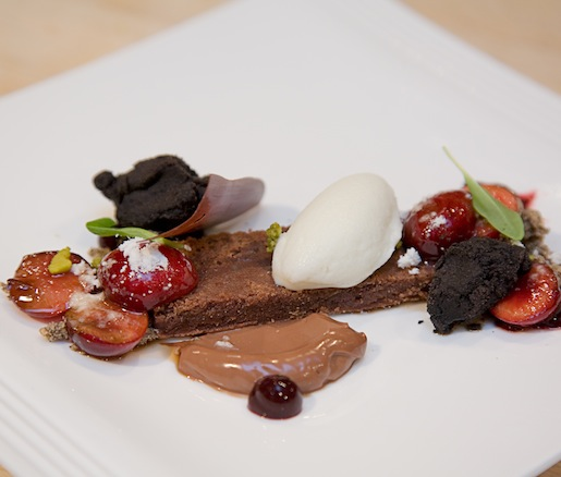 Wild Chocolate Crémeux with Black Cacao, Bing Cherries, and Cherry Balsamico