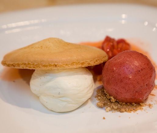 Macerated Market Strawberries with Amaretti Macaroon, Mascarpone Mousse, and Strawberry–Red Wine Sorbet