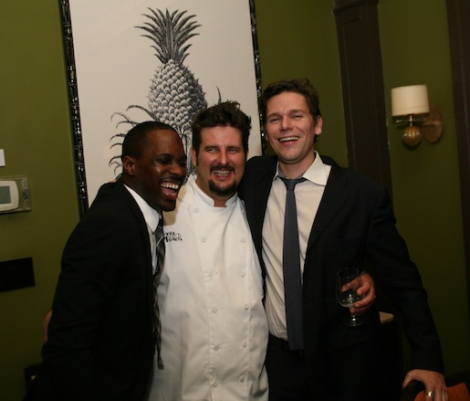 Chef Daniel Doyle and wine director Brad Ball share a laugh after dinner