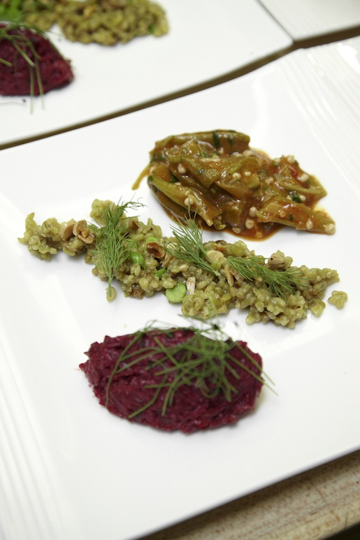Freekeh with Almonds and Dill; Baby Okra with Aleppo Peppers and Coriander; and Beets with Tahini and Mint