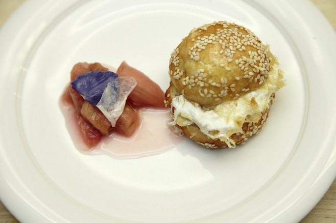 Knefe > Sweet Cheese–Stuffed Sesame Doughnut with Rhubarb Syrup