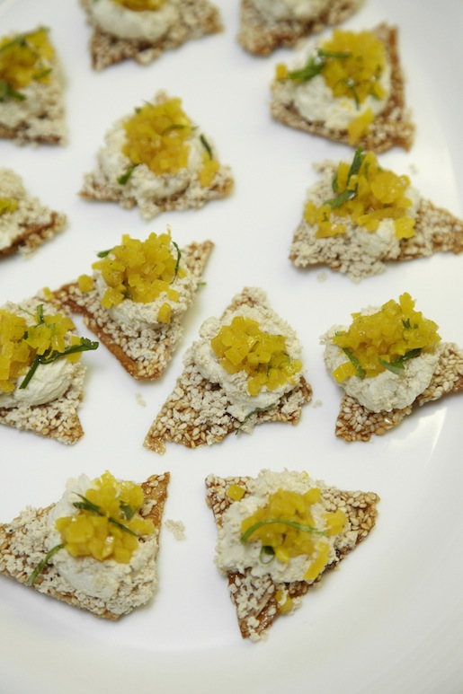 Molasses Wafers with Goat Cheese and Halva