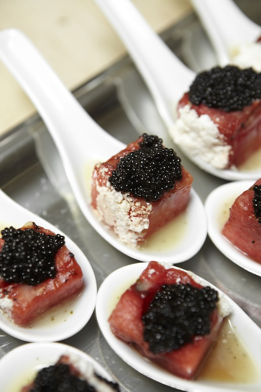 Grilled Watermelon with Champagne Vinaigrette, Bowfin Choupique Caviar, and Belle Ècorce Farms Feta