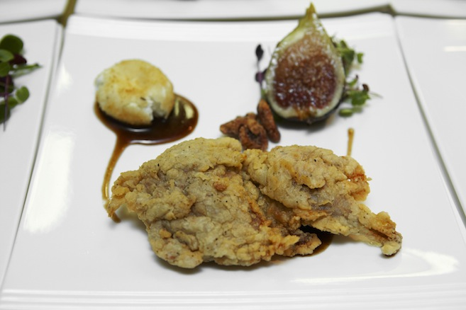 Crispy Quail with Roasted Figs, Balsamic–Cane Syrup Vinaigrette, Sugar-and-Spice Pecans, and Fried Chèvre