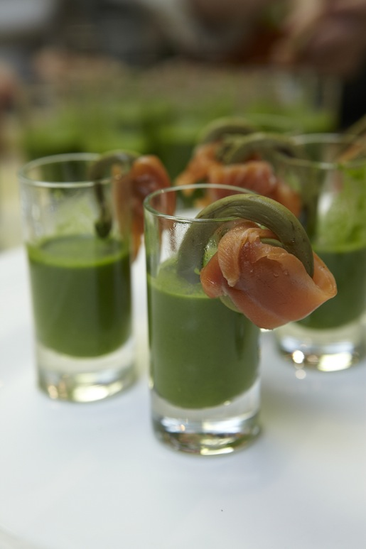 Chilled Nettle Soup with Wild Salmon and Pickled Fiddleheads