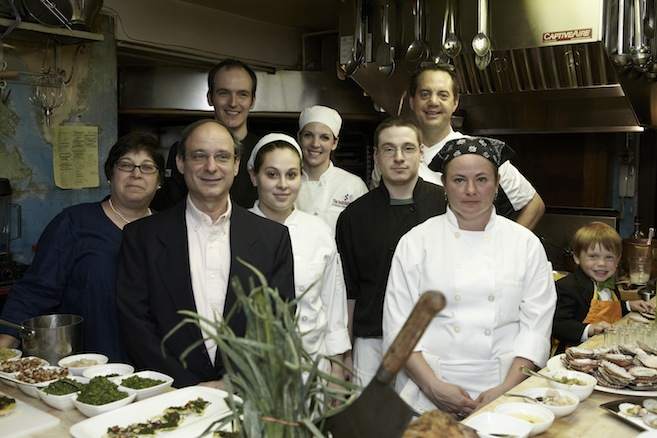 Chef Jason Tostrup and his team in the Beard House kitchen