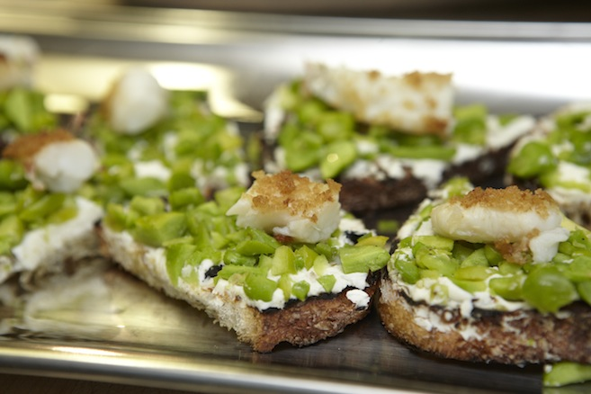Fava Bean and Langoustine Crostini