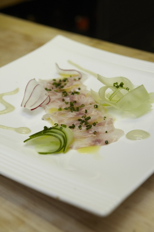 Fluke Crudo with Crispy Seasonal Vegetables and Whipped Rosemary Oil