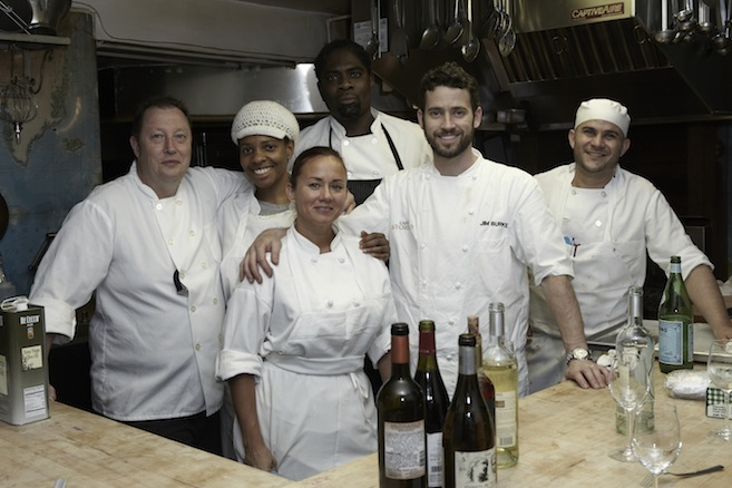 Chef Jim Burke and his team in the Beard House kitchen