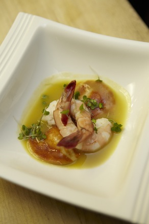 South Carolina Pickled Shrimp with Pimento Cheese Ravioli and Ham Hock–Green Tomato Jus
