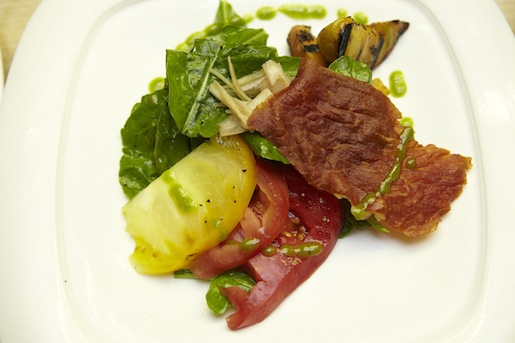 Heirloom Tomato–Grilled Peach Salad with Arugula, Pickled Shallots, South Carolina Honey–Bourbon Vinaigrette, and Crispy Country Ham