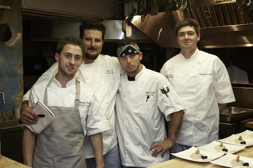 Chef Daniel Doyle and his team in the Beard House kitchen