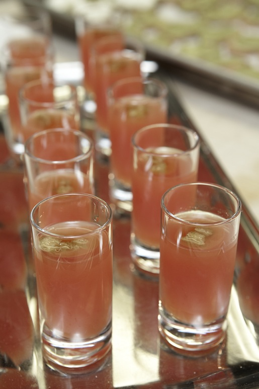 Pan Tomaquet Shooters > Tomato Water with Olive Oil, Basil Oil, and Jamón Serrano Bread Crumbs