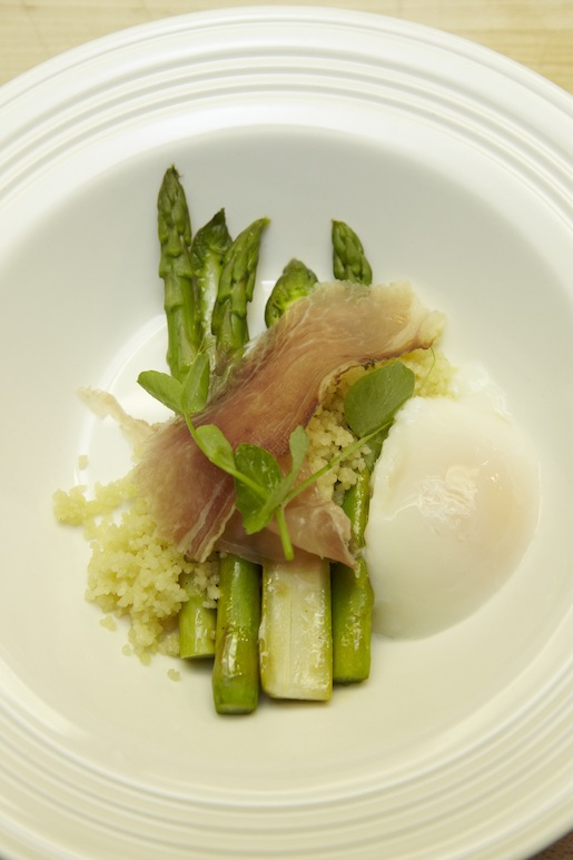 Grilled Asparagus with Poached Egg, Couscous, House-Smoked Country Ham, and Parmesan Broth