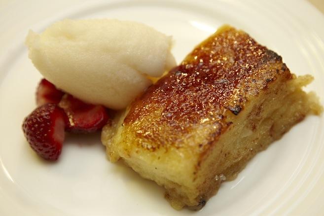 Torija > Caramelized Bread Pudding with Housemade Sorbet and Seasonal Fruit