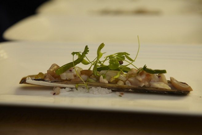 Razor Clam Ceviche with Smoked Tomatillos, Lychees, Key Lime, and Sea Beans