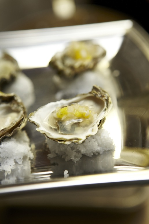 Oysters with Mango, Cucumber, and Mint Mignonette