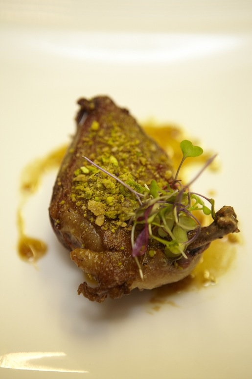 Toasted Squab with Tangerine Vinaigrette, Microgreens, Spiced Pistachios, and Citrus Segments