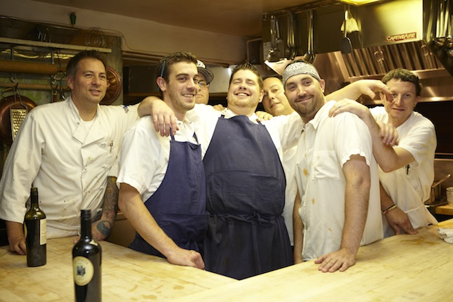 Chef Brian Roche and his team in the Beard House kitchen