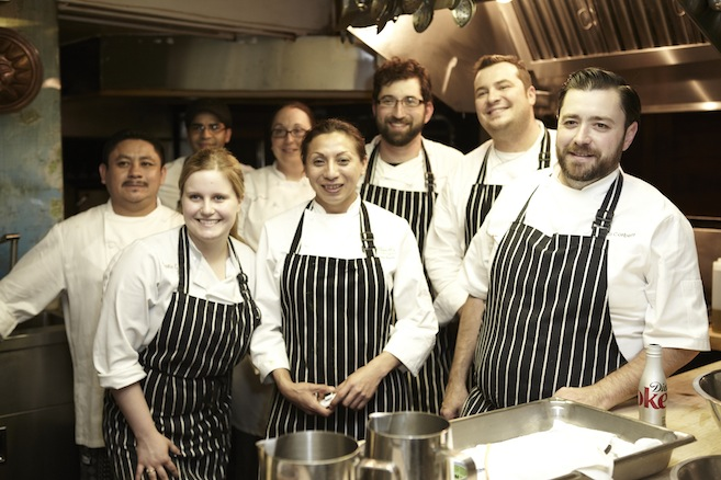Adam Keough, Pastry Chef Bill Corbett, and the Absinthe Brasserie & Bar team in the Beard House kitchen