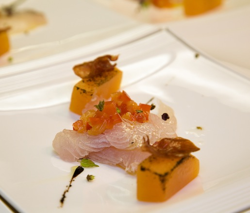 Fluke Crudo with Charred Cantaloupe, Crispy Prosciutto, Red Pepper Marmalade, and Balsamic Reduction