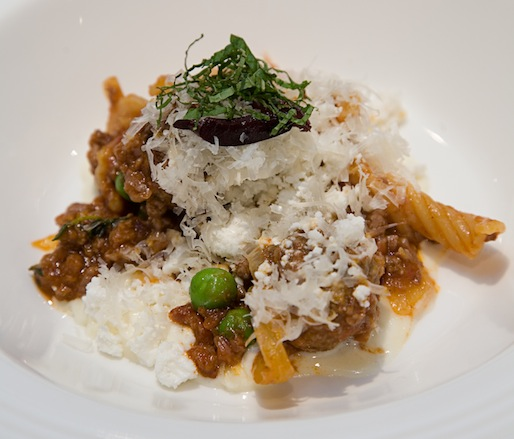 Garganelli with Vermont Spring Lamb Bolognese, Artichokes, Peas, Ramps, Mint, and Vermont Goat's Milk Feta