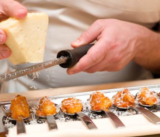 Shaving Abruzzese Pecorino Canestrato on Juniper-Smoked Potato Gnocchi