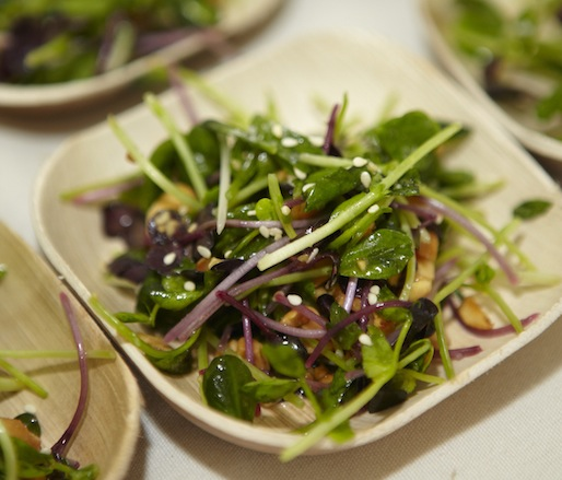 Goodwater Farms Pea Tendril Salad with Peanuts, Sesame, and Lime by Floyd Cardoz (North End Grill)