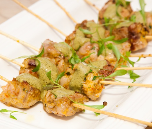 Anticuchos Mixtos > Grilled Veal Sweetbread Skewers with Peruvian Chili Aïoli and Black Mint Sauce (Peru)