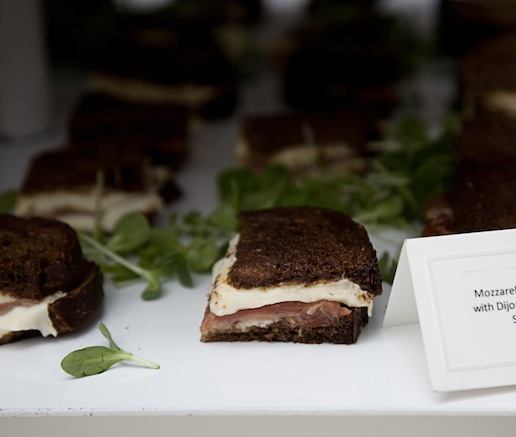 Mozzarella-and-Speck Grilled Cheese with Dijon Mustard and Red Amaranth Salad on Pumpernickel