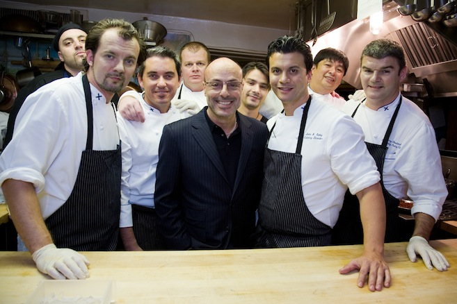 Chef John Suley with his JBF Award-winning mentor Alfred Portale and team in the Beard House kitchen
