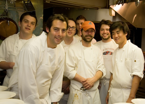 Chef Matthew Gennuso and team in the Beard House kitchen