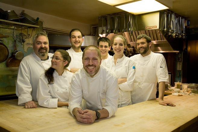 Chef Jason Bond and his team in the Beard House kitchen