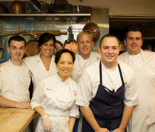 Chef Corey Heyer and his team in the Beard House kitchen