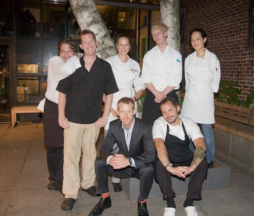 Mike Andrzejewski, Eward Foster, and Tony Rials with their team at the Beard House