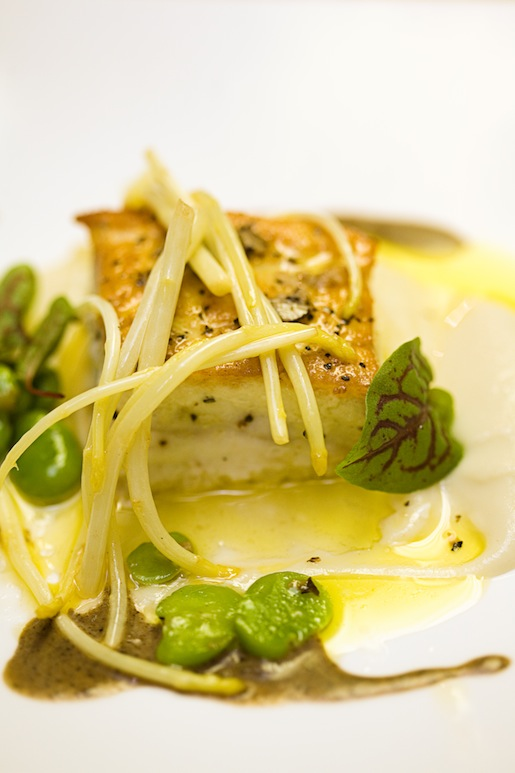 Line-Caught Halibut with Sunchoke Fondant, Fennel, White Asparagus, Fava Beans, and Black Truffle Emulsion