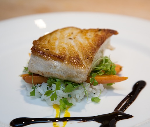 Roasted Halibut with Jasmine Rice, Carrot Purée, and Coconut–Lime Emulsion