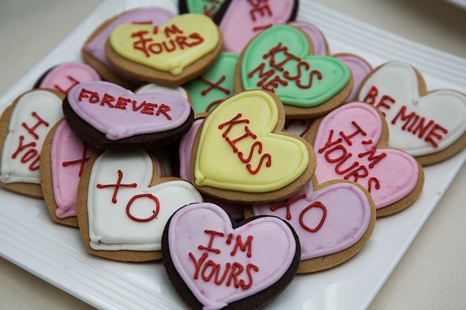 Iced Conversation Heart Cookies