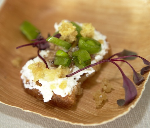 Homemade Ricotta Crostini with Peas, Preserved Lemon, and Crispy Millet by Alex Guarnaschelli (Butter, The Darby)