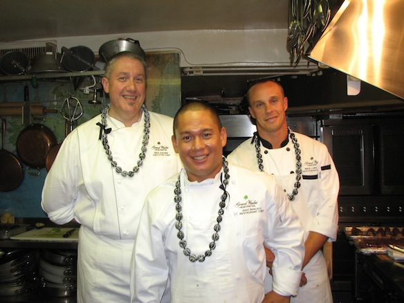 Chefs Eric Faivre, Isaac Bancaco, and Mike Lofaro in the Beard House kitchen