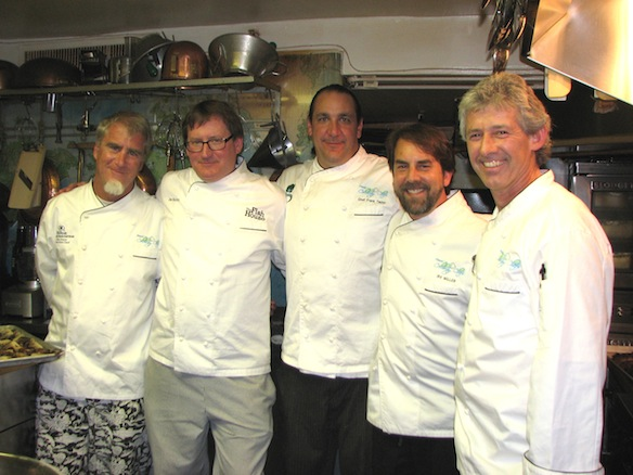 Chefs Dan Dunn, Irv Miller, Jim Shirley, Gus Silivos, and Frank Taylor in the Beard House kitchen