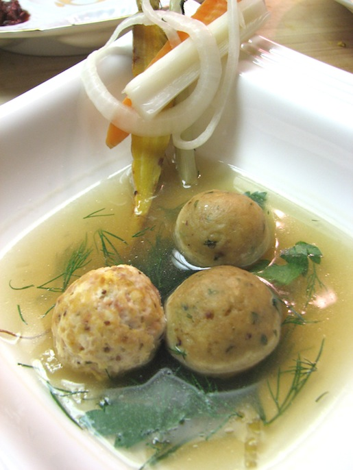 Jewish Wedding Soup with Chicken Meatballs, Miniature Matzo Balls, and Pickled Mirepoix